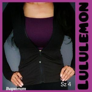 Lululemon Black Fitted Jacket Ruffle Hood Design